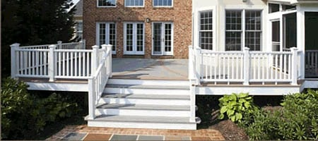 A Trex composite deck railing on a deck