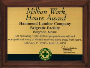 2008 certificate Million Work Hours Award
