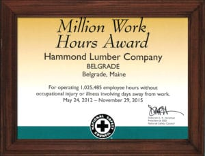 2015 certificate Million Work Hours Award