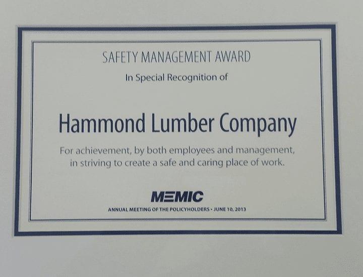 Hammond Lumber Company Safety M,management Award MEMIC 2013