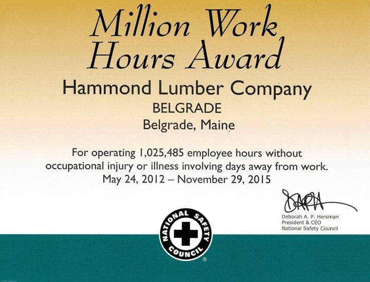 Million Work Hours Award 2012 Hammond Lumber National Safety Council
