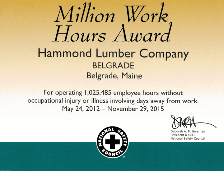 Million Work Hours Award 2012 Hammond Lumber National Safety Council