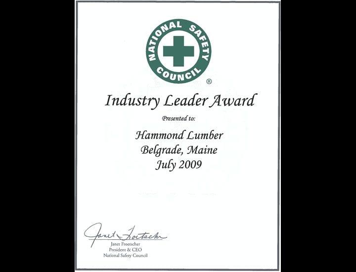 Industry Leader Award Hammond Lumber 2009