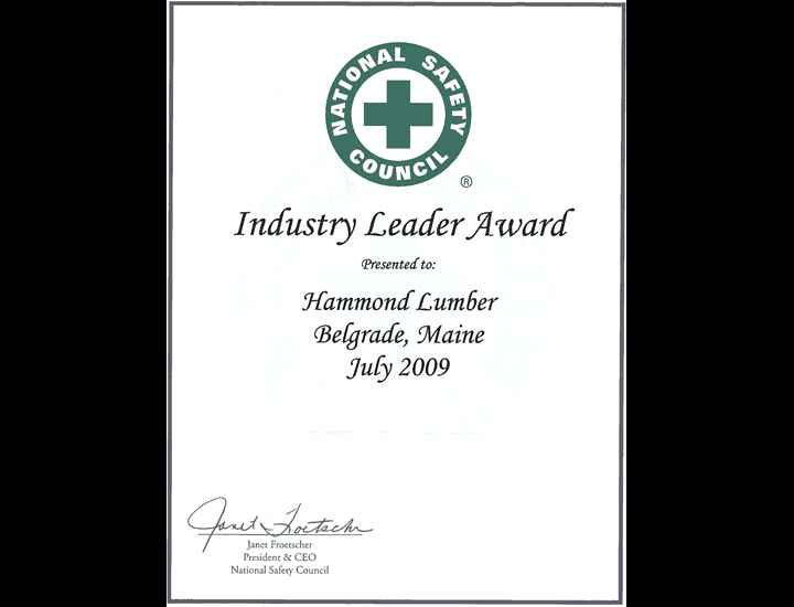 Industry Leader Award Hammond Lumber 2009