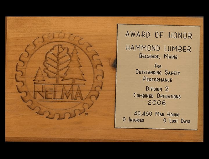 Outstanding Safety Performance Hammond Lumber Company 2006