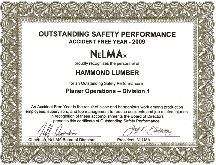 Outstanding Safety Performance 2009 Hammond Lumber Company NELMA