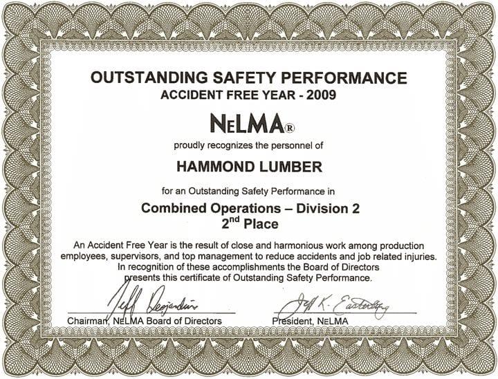 Outstanding Safety Performance 2009 Hammond Lumber