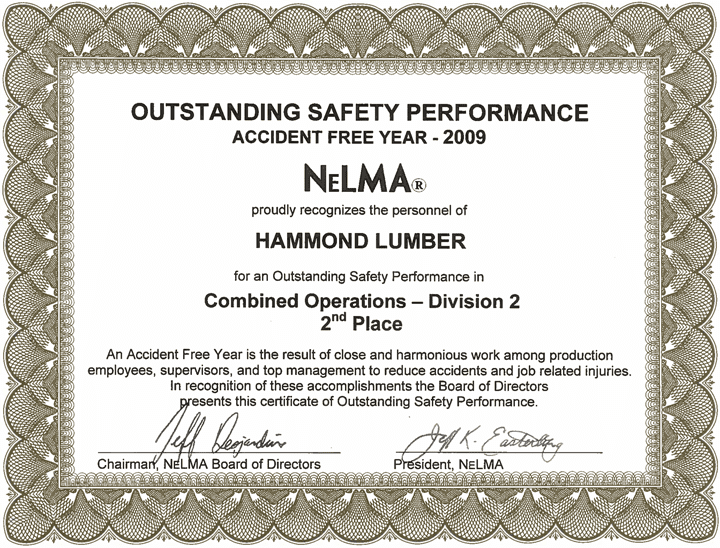 Outstanding Safety Performance 2009 Hammond Lumber