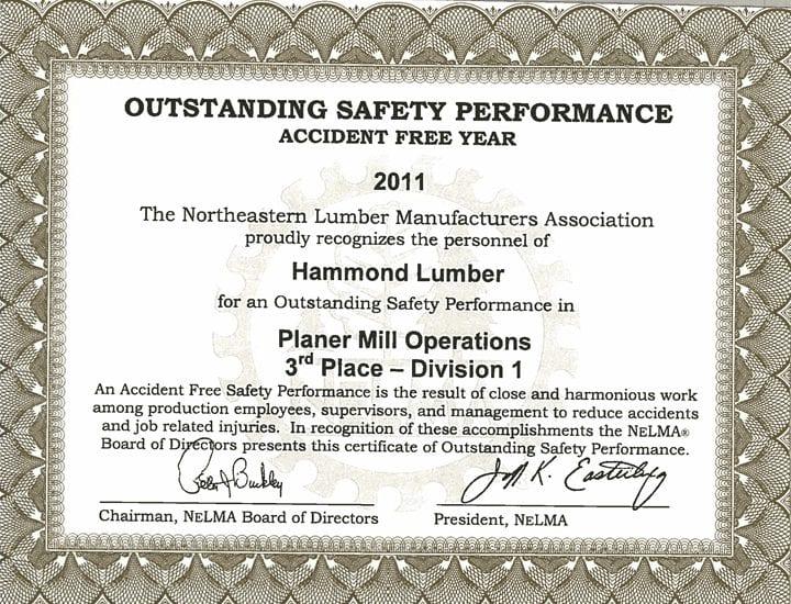 Outstanding Safety Performance 2011 Hammond Lumber