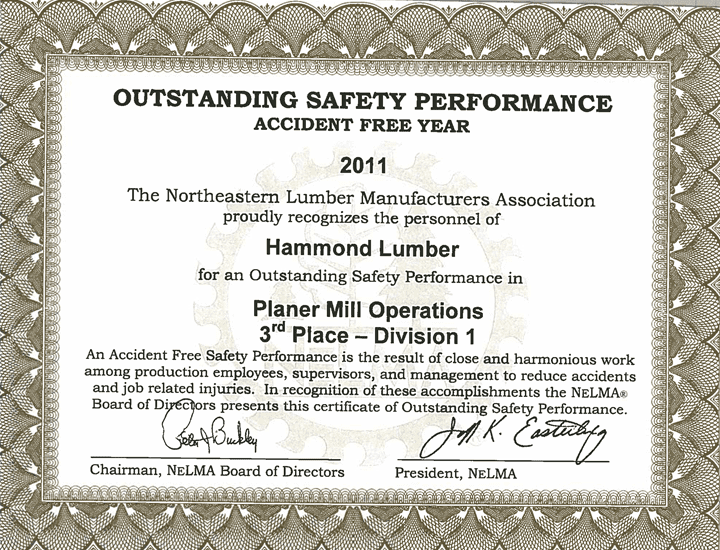 Outstanding Safety Performance 2011 Hammond Lumber