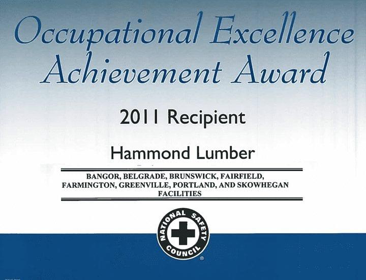 Occupational Excellence Achievement Award 2011 Hammond Lumber Company