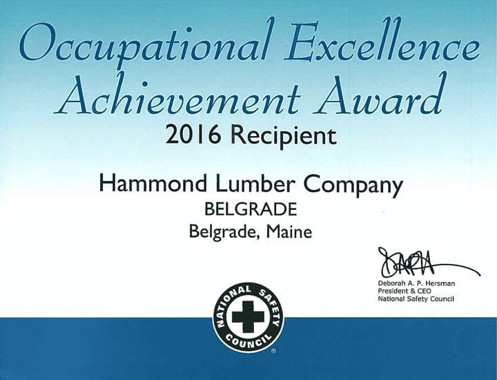 Occupational Excellence Achievement Award 2016 Hammond Lumber Company