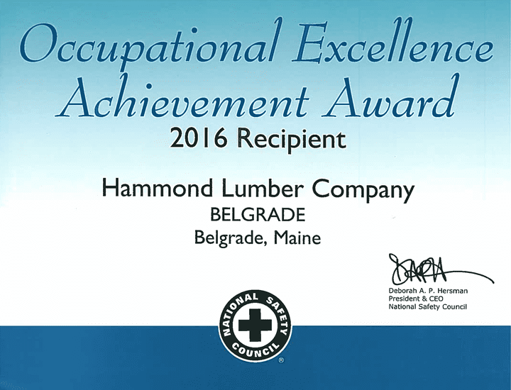 Occupational Excellence Achievement Award 2016 Hammond Lumber Company