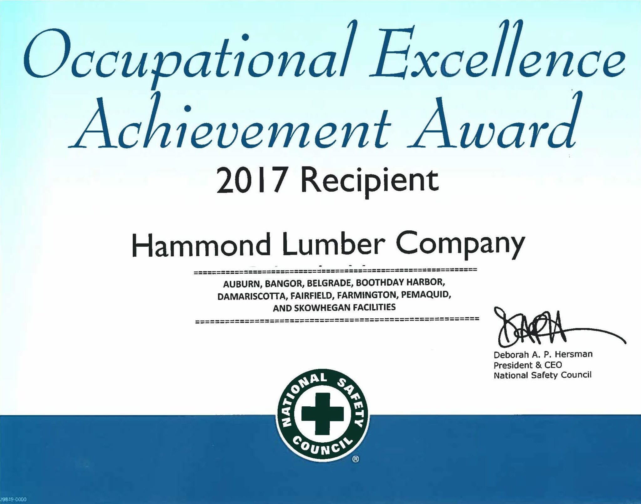 Occupational Excellence Achievement Award 2017 Hammond Lumber Company