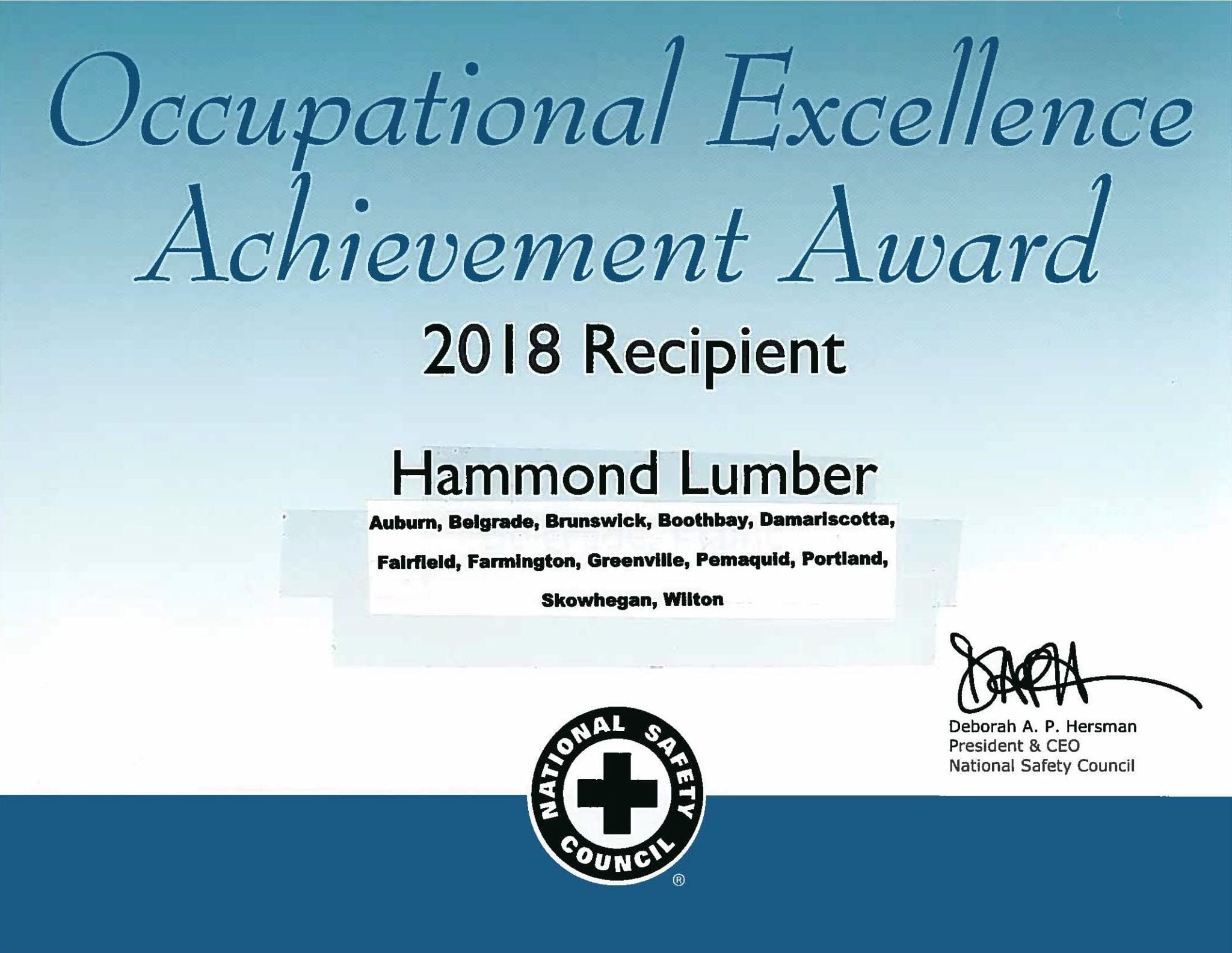 Occupational Excellence Achievement Award 2018 Hammond Lumber Company