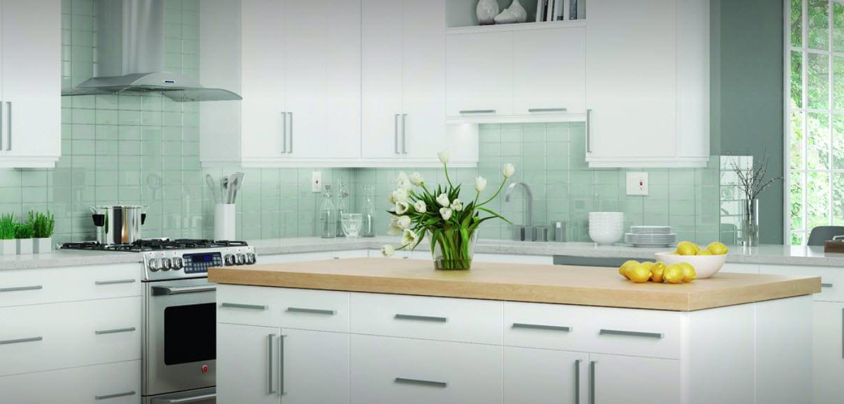 Glass tiles Kitchen Backsplash Hammond Lumber