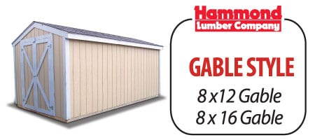 Storage shed storage building Gable Hammond Lumber Company 8x12 8x16