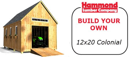 Hammond Lumber Build Your own 12x20 Colonial storage Shed or storage Building