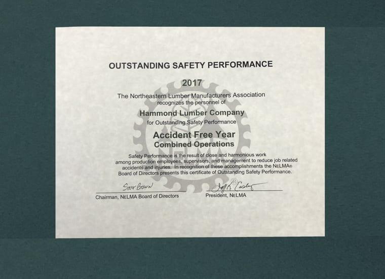 NELMA Hammond Lumber Accident Free Award
