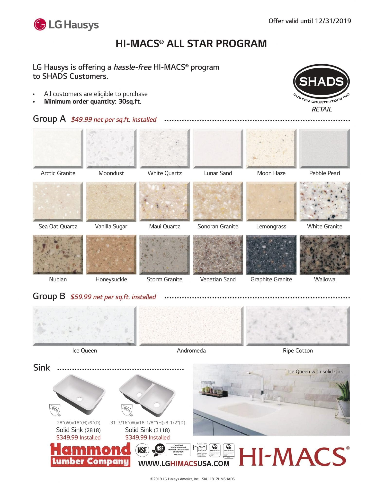 HI-MACS Shads countertop flyer hammond lumber