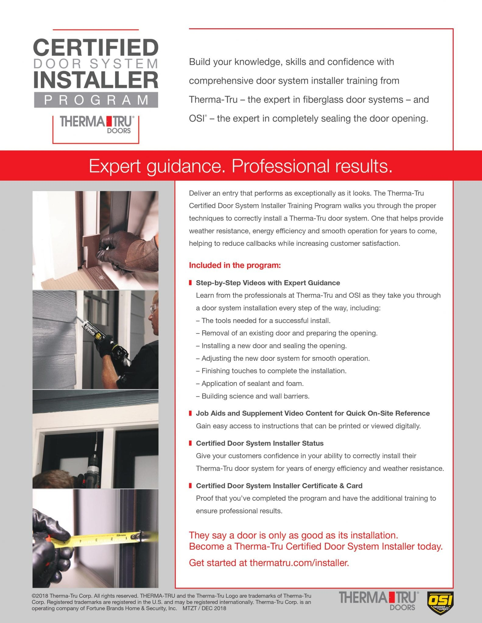 Therma Tru Certified Installer Training Flyer