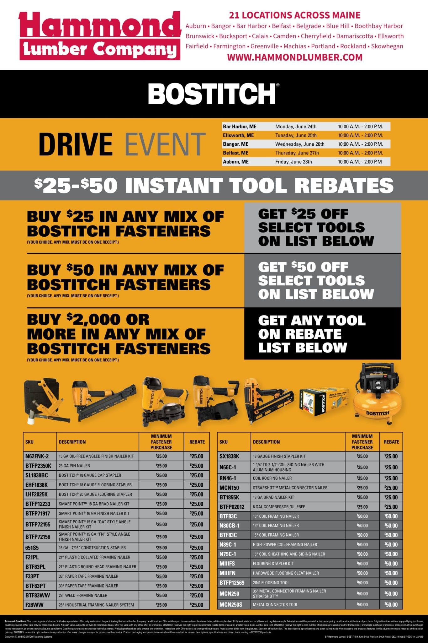Bostitch Tool Drive Event Hammond Lumber Company
